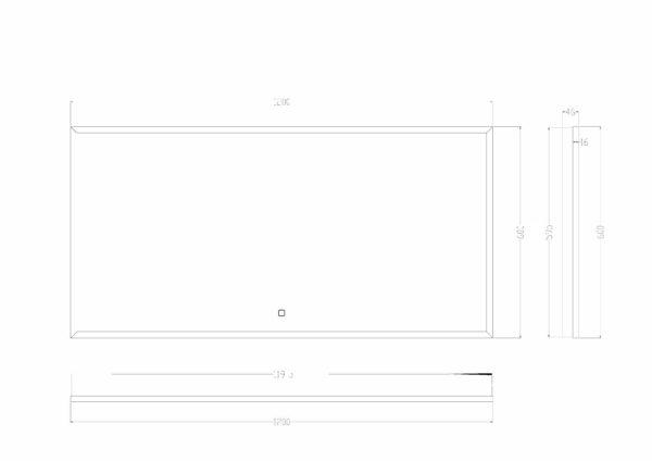 Wiesbaden Rechthoekige condensvrije LED-spiegel 120x60cm matzwart