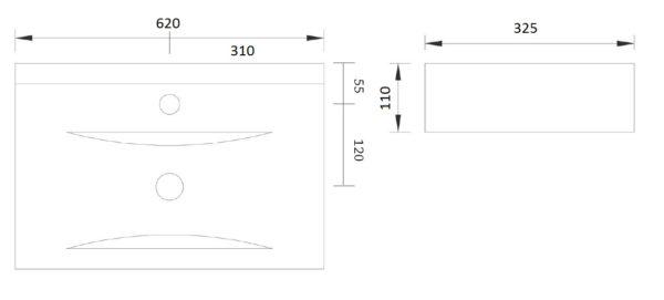 Best Design Begee wastafel 62 x 32,5 cm