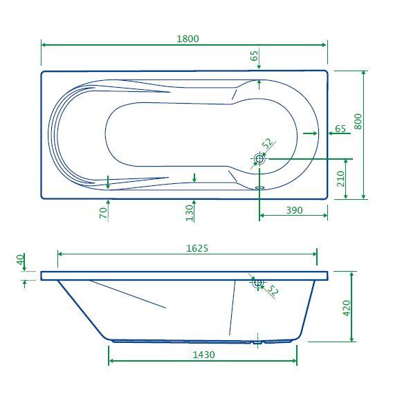 Best Design Bob bad met douchegedeelte 180 x 80 x 42 cm