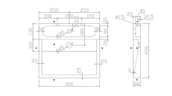 Best Design Lot-50 opbouw-wastafel Limestone 50 x 45 cm met kraangat