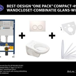 One pack Compact 49 cm wandcloset-combinatie wit