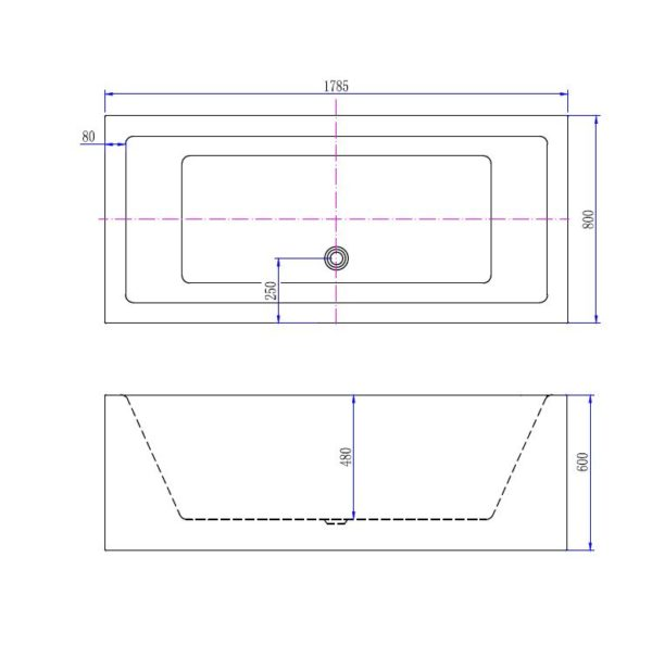 Best Design Strack vrijstaand bad 178 x 80 x 60 cm