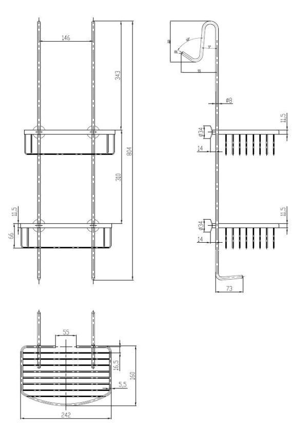 Best Design Rome-Steinhof-Chroom ophangrek