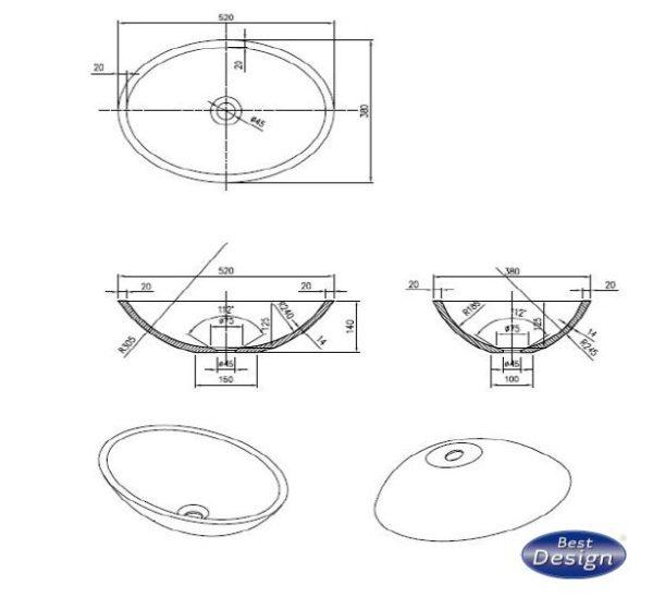 Best Design Epona-Sand opbouw waskom Just-Solid 52cm zandsteen