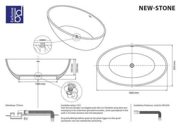 Best Design New-Stone vrijstaand bad Just-Solid 180 x 85 x 52 cm
