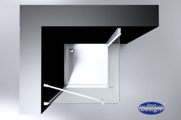 Best Design Erico vierkante cabine met 1 swing deur 100 x 100 cm 6 mm Nano
