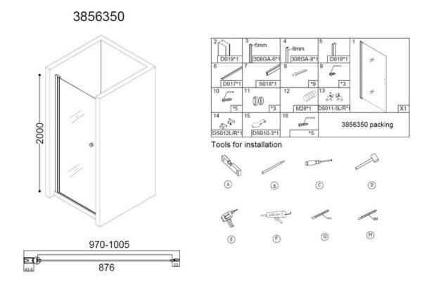 Best Design Erico nisdeur met profiel 100x20 cm