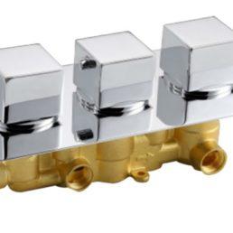 Best Design New-Napoli inbouw thermostaat 3 weg vierkante knoppen chroom