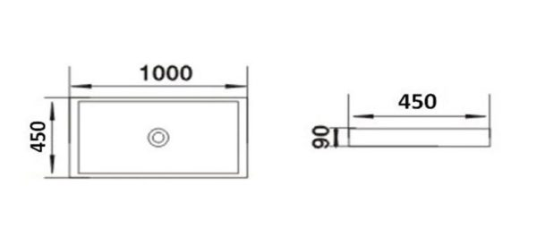 Best Design Proba opbouw wastafel 100 x 45 cm