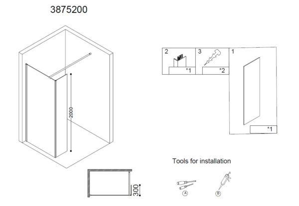 Best Design Erico zijwand 30 x 200 cm 8 mm Nano