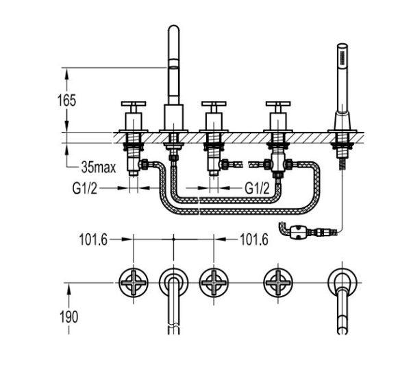 Best Design New-Jax 5-gats badrandcombinatie