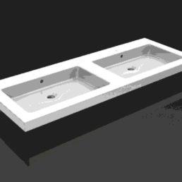 Kera dubbele wastafel 120 x 46 cm zonder kraangat
