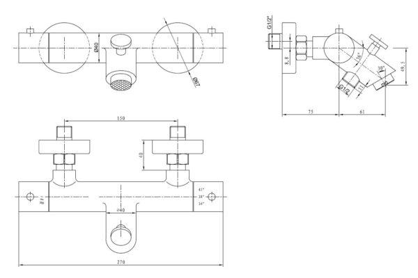 Best Design High-Plus RVS-304 Ore opbouw badthermostaat