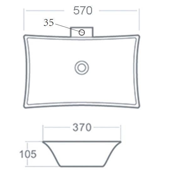 Best Design Raaf opbouw wastafel 56 x 37 cm