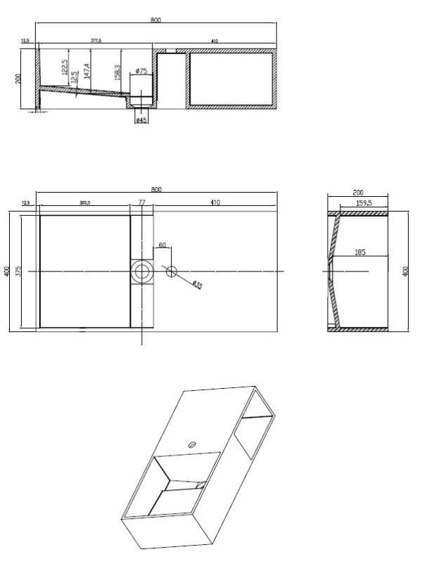 Best Design Qwee-80 wastafel Just-Solid 80 x 40 cm