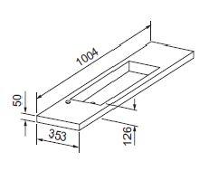 Best Design Slim wastafel voor meubel 100 cm (ondiep) 35 cm met kraan gat