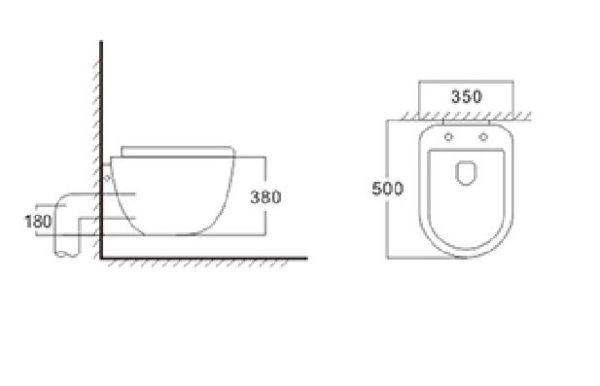 Best Design Quali wandcloset 50cm incl.zitting
