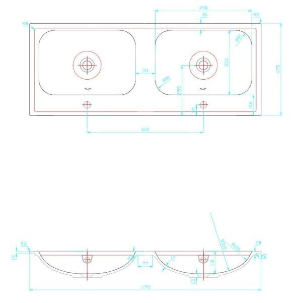 Best Design Duo-wastafel 120 cm met 2 kraangaten voor Bora onderkast