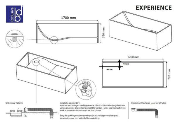 Best Design Experience vrijstaand bad Just-Solid 170 x 72 x 55 cm