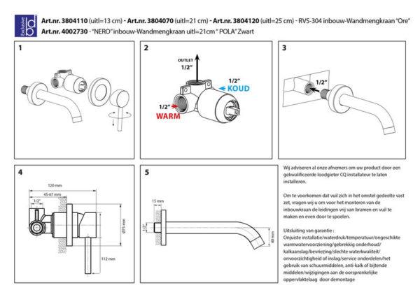 Best Design Pola inbouw-wandmengkraan zwart