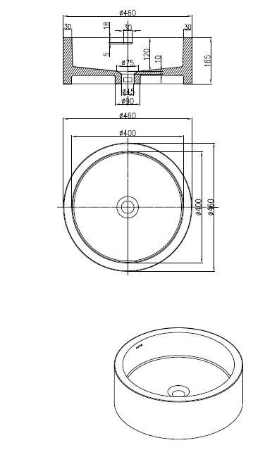 Best Design Compo opbouw-waskom Just-Solid 46 cm