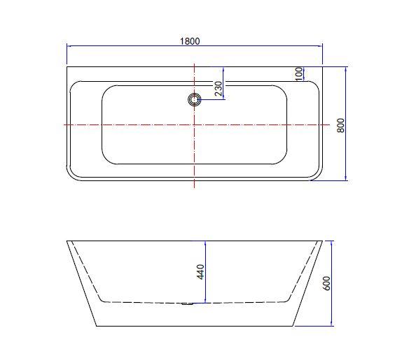 Best Design Silmo semi vrijstaand wandmodel bad 180 x 80 x 60 cm
