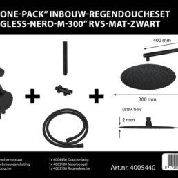 Best Design One-Pack inbouw-regendoucheset Gless - Mat zwart