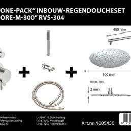 Best Design One-Pack inbouw-regendoucheset Ore - RVS-304