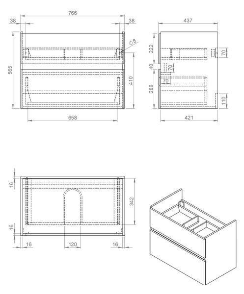 Quick-Greeploos meubel onderkast + wastafel 80 cm glans-wit
