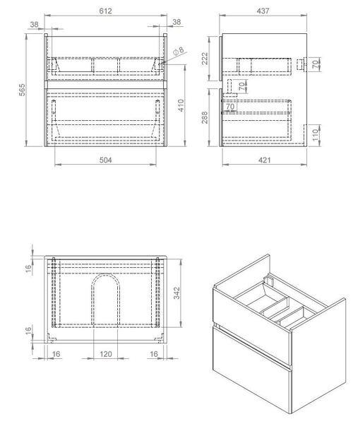 Quick-Greeploos meubel onderkast + wastafel 65 cm dark-brown