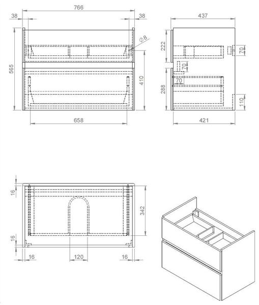 Quick-Greeploos meubel onderkast + wastafel 80 cm dark-brown