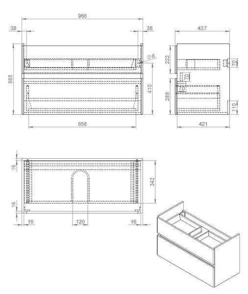 Quick-Greeploos meubel onderkast + wastafel 100 cm dark-brown