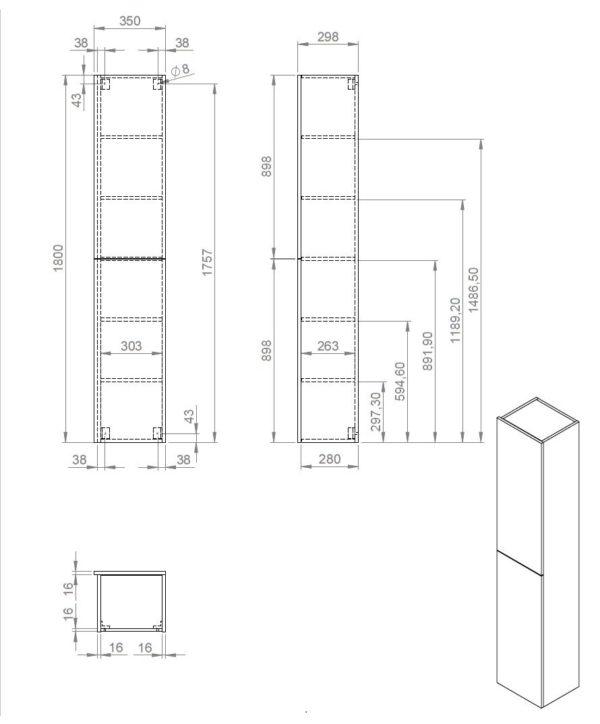 Best Design Blanco-Dark-Brown hoge kolomkast 35 x 180 cm