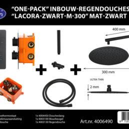 Best Design One-Pack inbouw-regendoucheset Lacora - Mat zwart