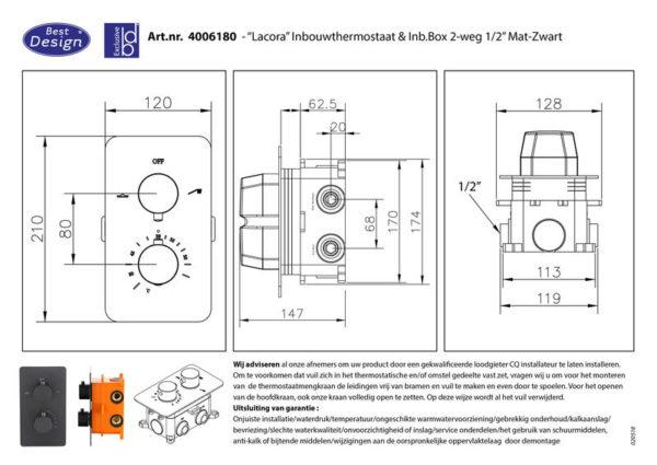 One-Pack inbouw-regendoucheset Lacora