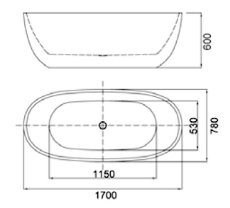 Best Design Moderna Mat-Wit vrijstaand bad 170 x 78 x 60 cm