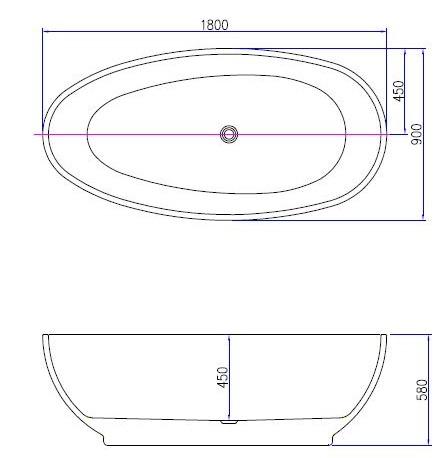 Best Design Bomber Mat-Wit vrijstaand bad 180 x 90 x 58 cm