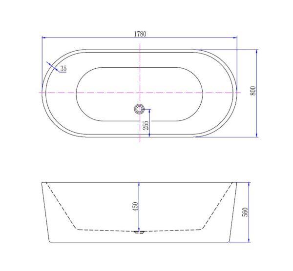 Best Design Becoma Mat-Wit vrijstaand bad 178 x 80 x 55 cm