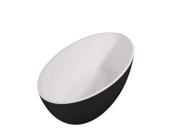 Best Design New-Stone Bicolor-zwart/wit vrijstaand bad Just-Solid 180 x 85 x 52 cm