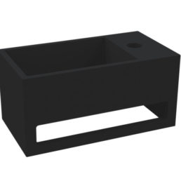 Best Design Mona-Black-Rechts fontein incl.handdoekhouder Just-Solid 33 x 18 cm