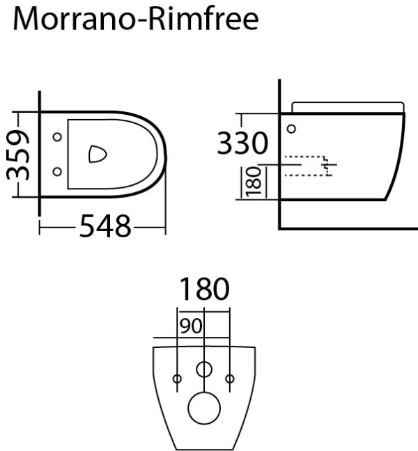 Best Design Morrano-Rimfree wandcloset incl.zitting glans-wit