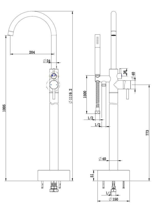 Best Design Moya vrijstaande badkraan gunmetal