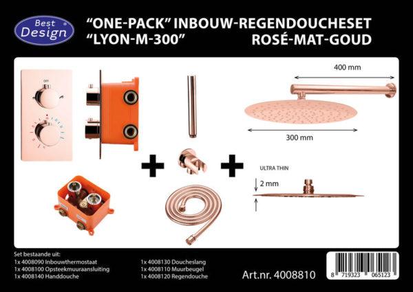 Best Design One-Pack inbouw-regendoucheset Lyon - Rose-mat goud