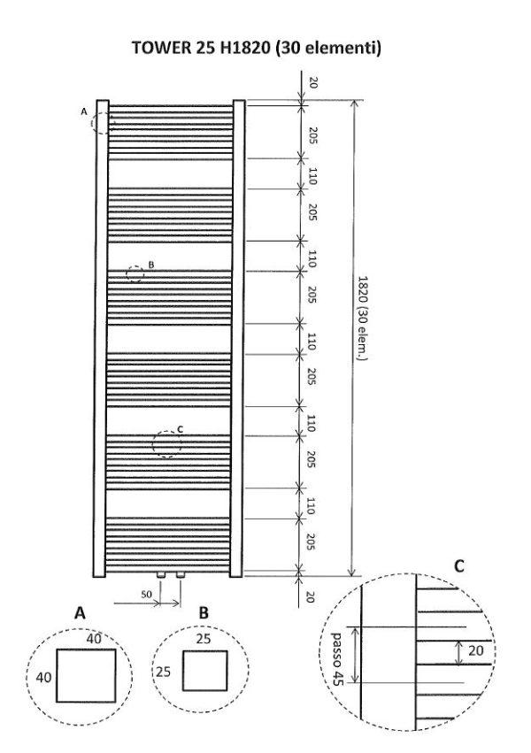 Wiesbaden Tower sierradiator 182x60 cm wit