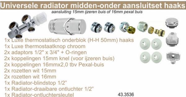 Wiesbaden set onderblok compl. haaks (links) 16x2,0 +15 knel chroom