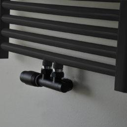 Wiesbaden set thermostatisch onderblok haaks-links mat zwart