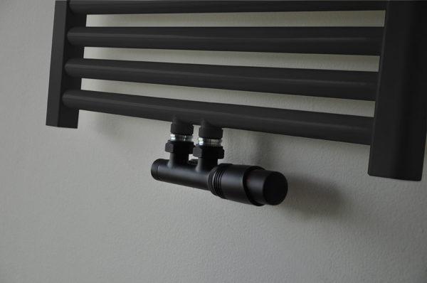 Wiesbaden set thermostatisch onderblok haaks-rechts mat zwart