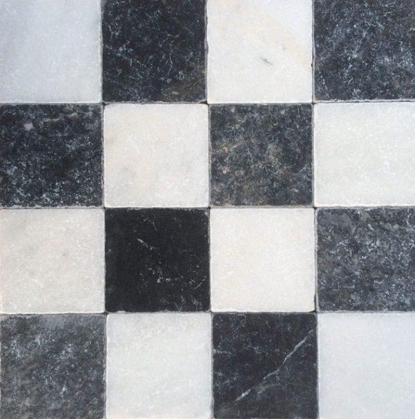 Dambord wit marmer en Turks hardsteen anticato 10x10x1 vloertegels / wandtegels