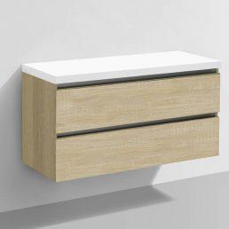 Badmeubel Trend met Flat kunstmarmer top 100 Light Wood