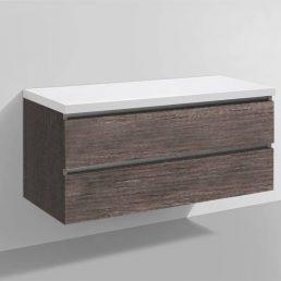 Badmeubel Trend met Flat kunstmarmer top 120 Century Oak